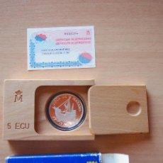 Monedas FNMT: 5 ECU COCA DE MATARÓ MARESME FABRICA NACIONAL MONEDA TIMBRE FNMT ESPAÑA CINCO ECUS 1996 PLATA BARCO. Lote 109263183