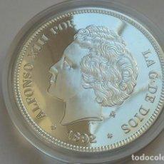 Monedas FNMT: REPRODUCCION 5 PESETAS DE ALFONSO XIII DE 1892 FNMT HISTORIA DE LA PESETA, PLATA 925 MM,PESA 44 GRS. Lote 109542927