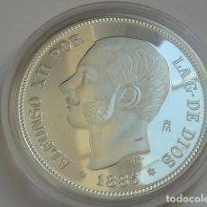 Monedas FNMT: REPRODUCCION 5 PESETAS DE ALFONSO XII DE 1885 FNMT HISTORIA DE LA PESETA, PLATA 925 MM,PESA 44 GRS. Lote 109543051