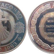 Monedas FNMT: MEDALLA, TOKEN, JETÓN, DE PRESENTACIÓN DEL AÑO SANTO JACOBEO. SANTIAGO DE COMPOSTELA AÑO 1993. PLATA. Lote 114629783