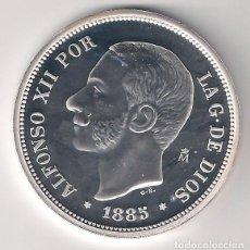 Monedas FNMT: RÉPLICA OFICIAL DE LA F.N.M.T. MONEDA ENCAPSULADA DE 5 PESETAS DE ALFONSO XII DE 1885. PLATA. PROOF.. Lote 122693531