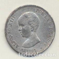 Monete FNMT: ALFONSO XIII. 5 PESETAS. CALAMINA. 1891 *1891 PGM. FALSA DE ÉPOCA. BARRERA 1285. Lote 125937788