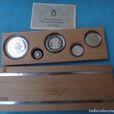 Monedas FNMT: SERIE 5 MONEDAS , SERIE QUINTO CENTENARIO 1989 PROOF PLATA , FNMT , ORIGINAL ,CA. Lote 128794415