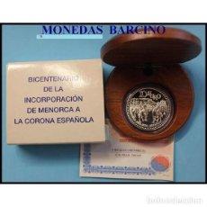 Monedas FNMT: 2002 MONEDA DE ESPAÑA 10 EUROS DE PLATA -INCORPORACION DE MENORCA A LA CORONA- FNMT. Lote 206955626