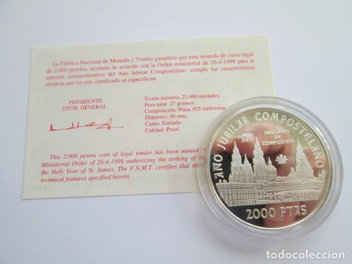 Monedas FNMT: JUAN CARLOS I * 2000 PESETAS 1999 * CATEDRAL DE SANTIAGO DE COMPOSTELA * PLATA ** TIN - Foto 2 - 142609806