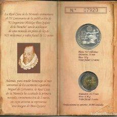 Monedas FNMT: CARTERITA DE LA FNMT CON LA MONEDA DE 12 € DE PLATA + 2 € , CONMEMORATIVA DEL QUIJOTE. Lote 142829446