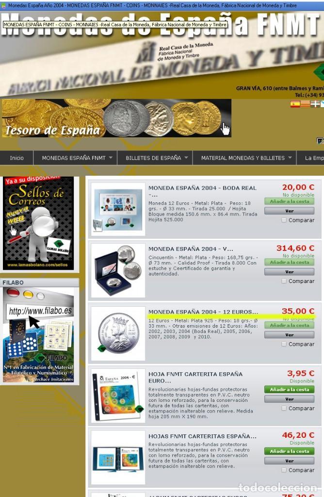 Monedas FNMT: Moneda conmemorativa de Plata. 12 euros. Año 2004. Isabel La Católica. En su estuche de la FNMT - Foto 4 - 164882546