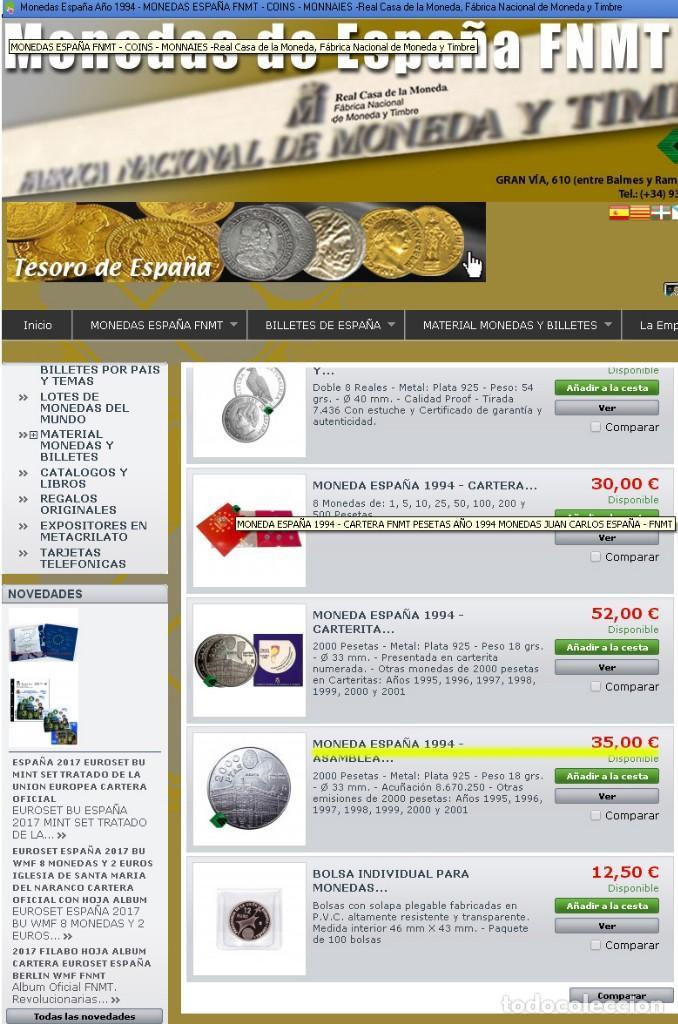 Monedas FNMT: Moneda conmemorativa de Plata. 2000 pesetas. Año 1994. Banco de España - Foto 3 - 164883678