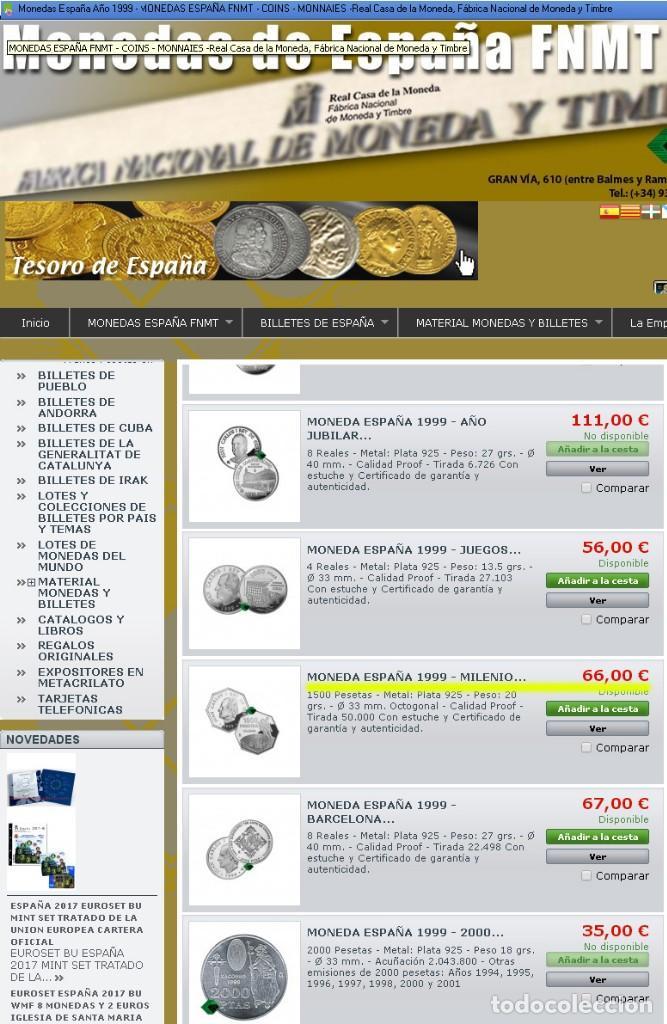 Monedas FNMT: Moneda conmemorativa de Plata. Diseño octogonal. 1.500 pesetas. Año 1999. Milenio. Cosmonauta - Foto 4 - 164885142