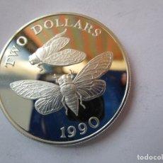 Monedas FNMT: ISLAS BERMUDAS . TWO DOLLARS DE PLATA . AÑO 1990 . EXTRAORDINARIAMENTE NUEVA. Lote 174016530