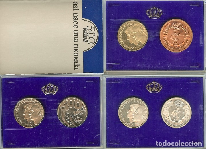 ESTUCHE 500 PESETAS, PRUEBAS 1987, FNMT, PLATA, ANIVERSARIO BODA (Numismática - España Modernas y Contemporáneas - FNMT)
