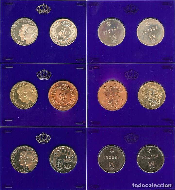 Monedas FNMT: ESTUCHE 500 PESETAS, PRUEBAS 1987, FNMT, PLATA, ANIVERSARIO BODA - Foto 2 - 174579987