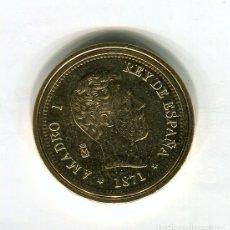 Monedas FNMT: AMADEO I 100 PESETAS CECA MADRID AÑO 1871 - REPRODUCCION DE LA FNMT BAÑADA EN ORO - 33 MM.. Lote 188455056