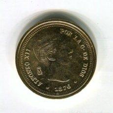 Monedas FNMT: ALFONSO XIIII 20 PESETAS CECA MADRID AÑO 1876 - REPRODUCCION DE LA FNMT BAÑADA EN ORO - 28 MM.. Lote 174840619