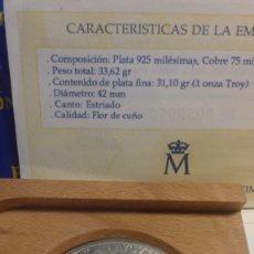 Monedas FNMT: SPAIN 1985 CARLOS V 5 ECU SILVER 1 TROY OUNCE . ORIGINAL WOODEN BOX. SC UNC. Lote 183219895