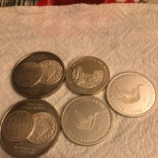 Monedas FNMT: LOTE DE 5 MEDALLAS EN PLATA DE LEY FNMT, 210 GRAMOS. Lote 186015447