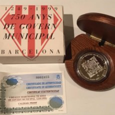 Monedas FNMT: 2000 PESETAS PLATA 1999 750 ANYS DE GOVERN MUNICIPAL BARCELONA 1249-1999. Lote 191568287