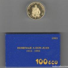Monedas FNMT: 100 ECU-1993-HOMENAJE A DON JUAN-1913-1993-ORO-PROF. Lote 195200872