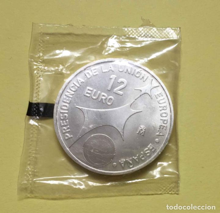 Monedas FNMT: MONEDA CONMEMORATIVA: 12 euros Presidencia de la Unión Europea (FNMT, 2002) Plata ¡Original! - Foto 2 - 195770791