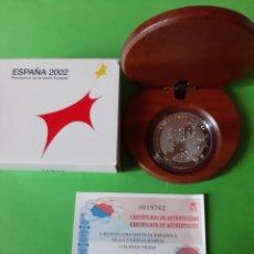 Monedas FNMT: 8 REALES 2002 PRESIDENCIA COMUNICAD EUROPEA MONEDA PLATA 10 EUROS CERTIFICADO. Lote 198395020