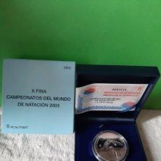 Monedas FNMT: PROOF NATACIÓN CAMPEONATO MUNDO 2003 10 EUROS PLATA CERTIFICADO 3241 FNMT. Lote 198507542
