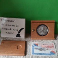Monedas FNMT: 2001 ESPAÑA I CENTENARIO LEOPOLDO ALAS CLARÍN ESCRITOR PROOF CERTIFICADO PLATA 2.000 PESETAS FNM. Lote 198516901