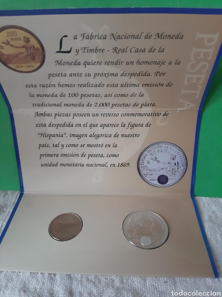 2003 ESPAÑA CARTERA OFICIAL FNMT HOMENAJE PESETA MONEDA 12 EUROS Y 100 PESETAS (Numismática - España Modernas y Contemporáneas - FNMT)