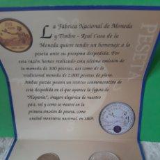 Monedas FNMT: 2003 ESPAÑA CARTERA OFICIAL FNMT HOMENAJE PESETA MONEDA 12 EUROS Y 100 PESETAS. Lote 198592522