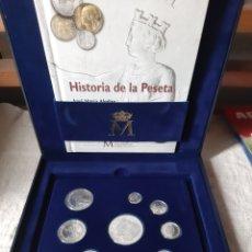 Monedas FNMT: ESPAÑA ESTUCHE ULTIMAS PESETAS PLATA FABRICA MONEDA TIMBRE CERTIFICADO CATÁLOGO MONEDAS INCLUIDO. Lote 203887298