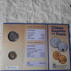 Monedas FNMT: 2001 ÚLTIMA EMISIÓN DE LA PESETA 2000 Y 100 PESETAS FLOR LIS ABAJO CARTERA FNMT JUAN CARLOS I. Lote 203965077