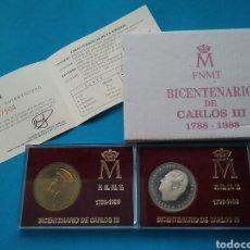 Monedas FNMT: 2 MONEDAS EN PLATA Y OTRA EN COBRE BICENTENARIO DE CARLOS III 1788-1988. Lote 204533916