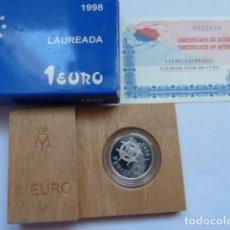 Monedas FNMT: MONEDA DE PLATA DE 1 EURO 1998, LAUREADA, CALIDAD FLOR DE CUÑO, SOLO 50.000 UNIDADES. Lote 205249746