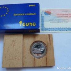 Monedas FNMT: MONEDA DE PLATA DE 1 EURO 1997, AVIACION MAURICE FARMAN, CALIDAD FLOR DE CUÑO, SOLO 50.000 UNIDADES. Lote 205250081