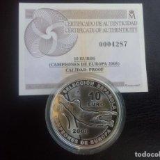 Monedas FNMT: ESCASA Y CODICIADA MONEDA DE 10 EUROS PLATA DE ESPAÑA AÑO 2008,CAMPEONA DE EUROPA DE FUTBOL. Lote 205670342