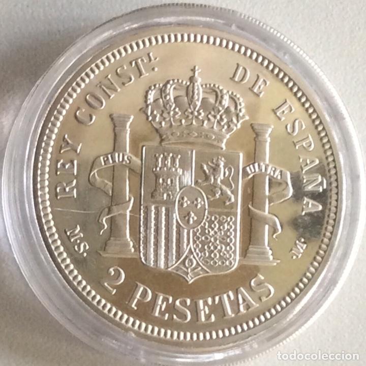 Monedas FNMT: MONEDA CONMEMORATIVA FNMT - 2 PESETAS ALFONSO XII 1882 - PLATA 925 (27 g) - HISTORIA DE LA PESETA - Foto 2 - 212409336