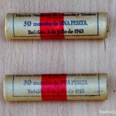 Monedas FNMT: DOS CARTUCHOS DE 50 PESETAS 1963 *75. Lote 214389176