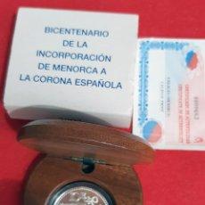 Moedas FNMT: MONEDA PLATA ESPAÑA 10 EUROS 2002 BICENTENARIO INCORPORACION MENORCA PROOF ORIGINAL , ES1. Lote 216003597