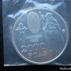 Monedas FNMT: MONEDA DE PLATA DE 2000 PESETAS AÑO 1999 XACOBEO SANTIAGO COMPOSTELA PRECINTADA SIN CIRCULAR. Lote 216445493