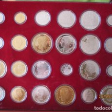 Monedas FNMT: 24 MONEDAS DE PLATA Y ORO QUE FORMAN LA HISTORIA DE LA PESETA. F.N.M.T. PLATA DE LEY 925.- 550 GRS.. Lote 218629742