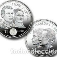 Moedas FNMT: ESPAÑA 12 EUROS 2004 *ENLACE MATRIMONIAL FELIPE Y LETICIA*.PLATA 925- CÁPSULA. Lote 220065497