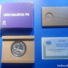 Monedas FNMT: 1000 PESETAS PLATA - 1996 - JUEGOS PARALÍMPICOS - ESTUCHE Y CERTIFICADO. Lote 225868600