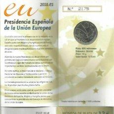 Monedas FNMT: ESPAÑA 2010. 12 EUROS. PRESIDENCIA UNIÓN EUROPEA (CARTERA). Lote 232108905
