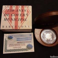 Monedas FNMT: ESTUCHE MONEDA PLATA 2000 PESETAS 750 ANYS DE GOVERN MUNICIPAL BARCELONA ORIGINAL FNMT 1999. Lote 235599635