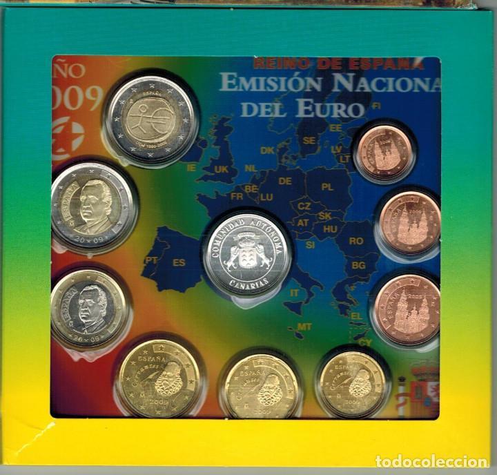 Monedas FNMT: BLISTER MONEDAS ESPAÑA 2009 CON MEDALLA DE PLATA AUTONOMIA CANARIAS - Foto 2 - 235800890
