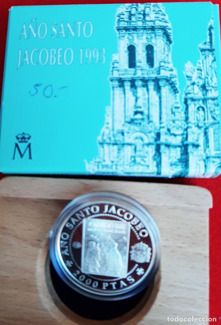 Monedas FNMT: MONEDA PLATA 2000 PESETAS AÑO SANTO JACOBEO PEREGRINOS ALEMANES 1993 ORIGINAL - Foto 2 - 238633810