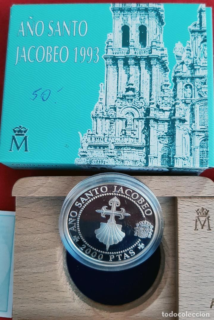 Monedas FNMT: MONEDA PLATA 2000 PESETAS AÑO SANTO JACOBEO CRUZ DE SANTIAGO Y VENERA 1993 ORIGINAL - Foto 2 - 238634095