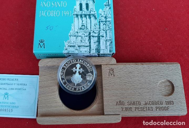 MONEDA PLATA 2000 PESETAS AÑO SANTO JACOBEO CRUZ DE SANTIAGO Y VENERA 1993 ORIGINAL (Numismática - España Modernas y Contemporáneas - FNMT)