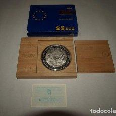 """Monedas FNMT: 25 ECU. """"CERVANTES-DON QUIJOTE. BATALLA NAVAL DE LEPANTO"""". 1 ESTUCHE CON 1 MONEDA DE PLATA. CALIDAD. Lote 244899445"""