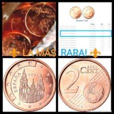 Monedas FNMT: ⚜️ LA FECHA MÁS RARA! 5 PIEZAS DE ESPAÑA 2 CÉNTIMOS 2002. SIN CIRCULAR, DE BOLSA OFICIAL, AL AZAR. Lote 245504480