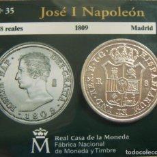 Moedas FNMT: REPRODUCCION MONEDA JOSE I NAPOLEON 8 REALES 1809 MADRID BAÑO DE PLATA EN ENVASE ORIGINAL. Lote 254077510